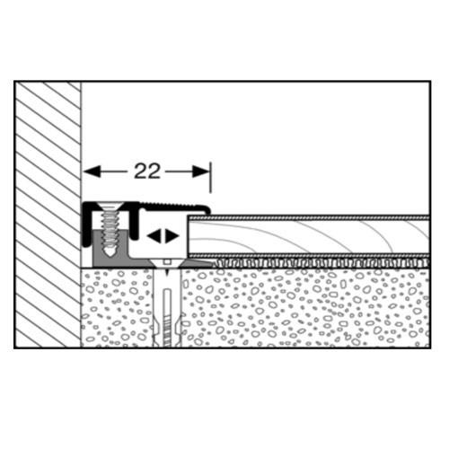 Alu záró profil - ezüst (Egger Vizálló padlóhoz)