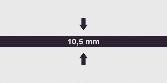 Vastagság 10,5 mm