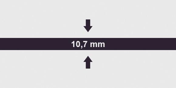 vastagság 10 ,7 mm