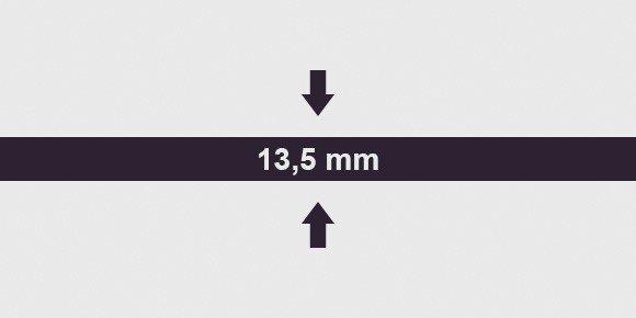 vastagság 13,5 mm