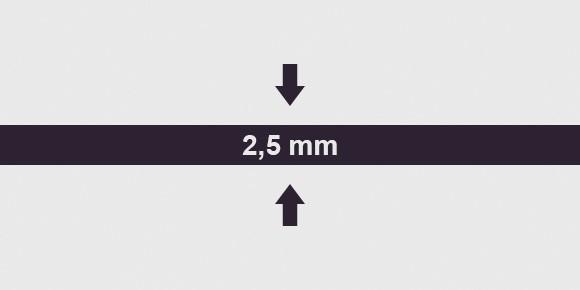 vastagság 2,5 mm