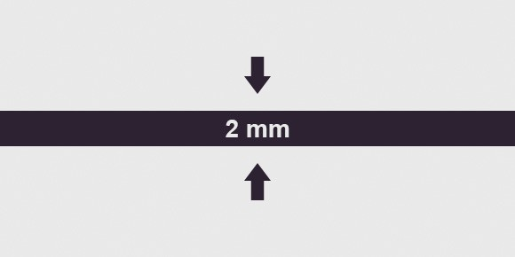vastagság 2 mm