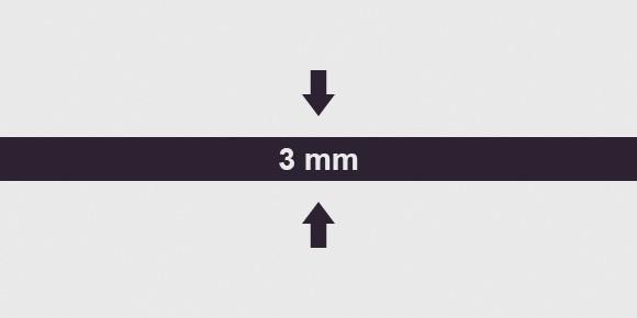 vastagság 3 mm