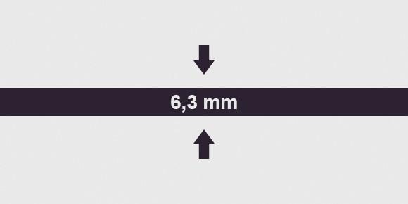vastagság 6,3 mm