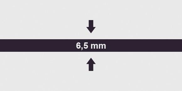 vastagság 6,5 mm