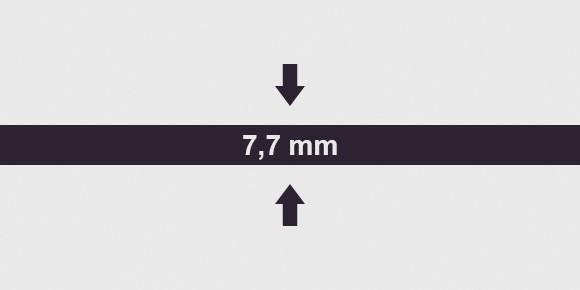 vastagság 7,7 mm
