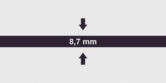 vastagság 8,7 mm