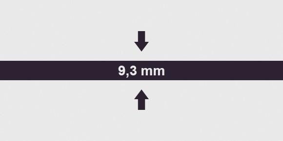 vastagság 9,3 mm